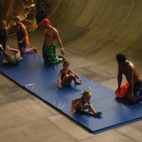 Somersaults by the youngest circus students.