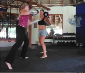 Kickboxing with Tracy at Rogue Fitness Cabarete is exciting and challenging.