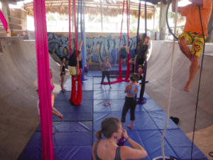 Circus Artists in an Aerial Silks Clinic with Sweet Retreats