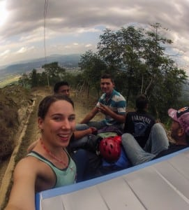 Headed up the mountain in Jarabacoa to our paragliding flight site!